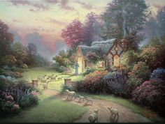 Good Shepherd's Cottage by Thomas Kinkade ~ Jesus welcoming sheep