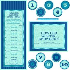 Bridal Shower or Bachelorette Party Game - DIY Printable - How old was the bride here