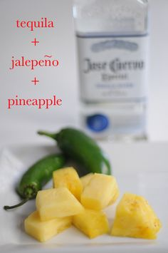 Homemade infused tequila: tequila+ jalepeno +pineapple via cupcakes and cashmere Flavored Tequila, Infused Vodka, Flavored Alcohol, Homemade Alcohol, Homemade Liquor, Gin, Yummy Drinks, Spicy Drinks, Food And Drink