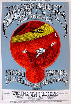 FILMORE POSTER 1968..This is one of the most unusual Fillmore posters of the period...it looks like an Avalon poster. Done by R. Tuten, it's a very handsome piece and is in perfect condition.     16