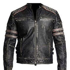 Men's Cafe Racer Retro Biker Vintage Motorcycle Distressed Leather Jacket for sale online Distressed Leather Jacket, Vintage Leather Jacket, Biker Leather, Real Leather, Black Leather, Motorcycle Leather, Sheep Leather, Leather Skin, Cowhide Leather