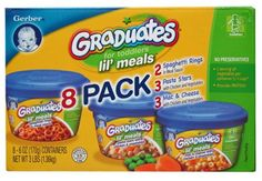 Graduates for Toddlers Lil' Meals 8 Pack Graduates for Toddlers Lil' Meals 8 Pack. No Preservatives. 8-6oz containers. 2 Spaghetti Rings in Meat Sauce. 3 Pasta Stars with Chicken and Vegetables. 3 Mac & Cheese with Chicken and Vegetables.  #Gerber #Grocery