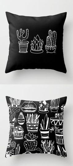 Plants in Pots Throw Pillow by Alliedrawsthings