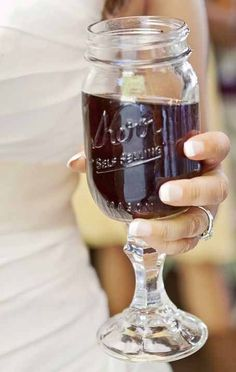Mason Jar glass. These fabulous rustic mason jar wine glasses are perfect for the wedding party. They are great gifts and are also fun to use in the home when you have company over. They hold approxim