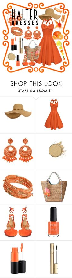 """""""Halter Dresses -Tangerine Love"""" by giovanina-001 ❤ liked on Polyvore featuring Kenneth Jay Lane, Dorothy Perkins, Lilly Pulitzer, Aquazzura, MAC Cosmetics, D&G and halterdresses"""