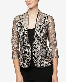 Alex Evenings Black Womens Embroidered Jacket Top Set Top C Blazer Size Petite 10 (M) - Tradesy Kurta Designs, Blouse Designs, Lace Blazer, Lace Jacket, Dress Neck Designs, Designs For Dresses, Stylish Dresses, Fashion Dresses, Alex Evenings