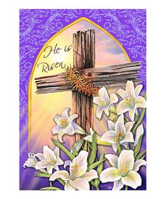 He Is Risen Easter Religious Cross Lily House Flag 28 x Patio, Lawn & Garden Easter Religious, Religious Cross, Jesus Ressuscité, Easter Garden, Summer Garden, Resurrection Day, Old Rugged Cross, Easter Cross, He Is Risen