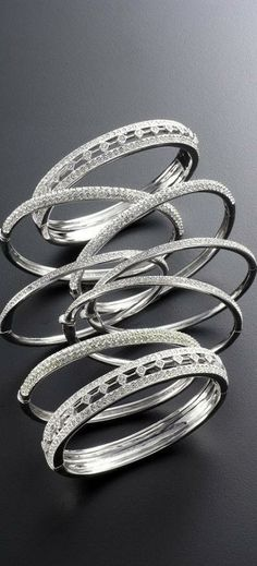 Platinum and diamond bangles. Pretty, Polished and Professional ❤️. Wedding Jewelry, Jewelry Box, Jewelery, Jewelry Accessories, Jewelry Design, Diamond Bangle, Diamond Jewelry, Silver Jewelry, Bangle Bracelets