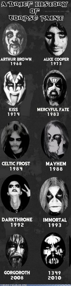 A brief history of corpse paint:   Arthur Brown, Alice Cooper, KISS, Mercyful Fate, Celtic Frost, Mayhem, Darktrhone, Immortal, Gorgoroth, 1349