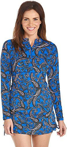 Coolibar UPF 50 Womens Ruche Swim Shirt Sun Protective XSmall Baja Blue Paisley * Check this awesome product by going to the link at the image. Maternity Swimwear, Paisley, Swimsuits, Swimming, Sun, Lady, Shirts, Dresses, Products