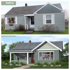 Before and after curb appeal.  Add front porch.  Expand windows.  Create curvy walkway.  Add overhang to roofline.