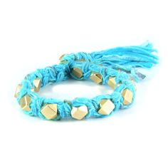 Cyan Vintage Ribbon Large Faceted Beads Knotted Bracelet