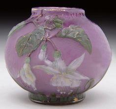 Burgun Schverer & Cie. Glass Vase with Fuchsia Decor