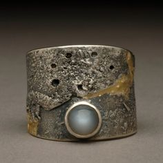 Moon texture open wrap ring with gray moonstone Sterling Silver and 14K Gold Size 5 1/2