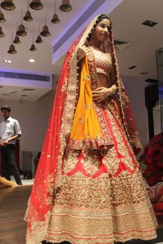 Vibrant Coral, Gold, and Yellow Bridal Lehenga Wedding Lehnga, Bridal Lehenga, Wedding Bride, Wedding Dress, Wedding Looks, Bridal Looks, Wedding Stuff, Indian Dresses, Indian Outfits