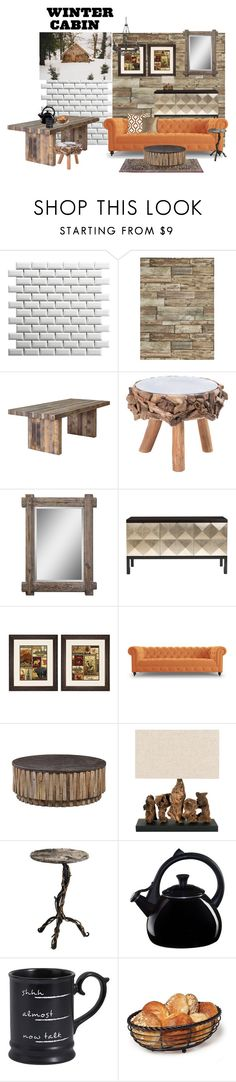 """""""Untitled #1413"""" by lindagama ❤ liked on Polyvore featuring interior, interiors, interior design, home, home decor, interior decorating, SomerTile, Dot & Bo, Belle Meade Signature and Universal Lighting and Decor"""