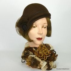 Reproduction 1920's Style Dark Brown Felt by NouveauHatsbySharon
