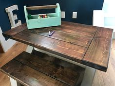 Child Sized Farmhouse Table with 2 Benches Farmhouse Table, Benches, Dining Room, Children, Diy, Furniture, Farm House, Home Decor, Products