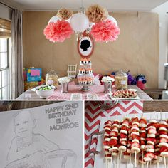 This chevron silhouette birthday party is so adorable. Love the custom coloring page