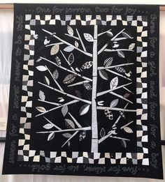 And we continue today with some of our favourites from the Festival of Quilts in Malvern. This was a gorgeous black and piece that had the appliqued leaves and magpie tails coming off the quilt. This was by Gill Theokritoff.
