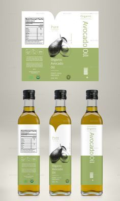 Avocado Oil, Coconut Oil & Almond Oil Label is part of Avocado Oil Benefits Healthier Than Coconut Oil Wellness Mama - Avocado Oil, Coconut Oil & Almond Oil Label Olive Oil Packaging, Organic Packaging, Bottle Packaging, Cake Packaging, Food Packaging Design, Packaging Design Inspiration, Avocado Oil Benefits, Olives, Product Label