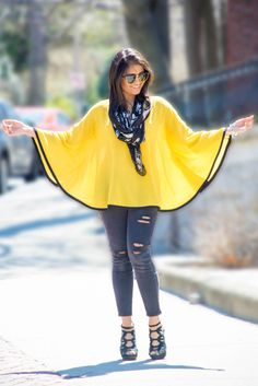 cape, summer, ootd, distressed jeans, diy, yellow and black, street style, petite fashion, petite dressup