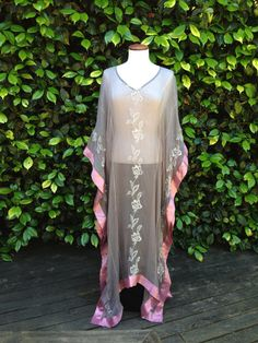 Gray Pink Silk Chiffon Summer Caftan Kaftan Beach Swimsuit Cover Up Maxi Dress Tunic Kimono Robe Recycle Upcycle Boho Hippie Gypsy Festival