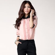 JS city Frilled Trim Shirt