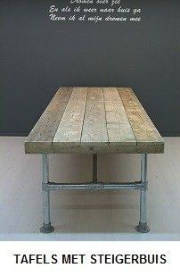 tafels met steigerbuis