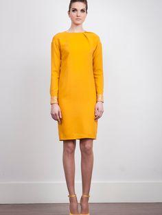 The 2nd Skin Co. Mustard wool dress. Long sleeve. Paillettes cuffs.   #Fashion #Women #Dress