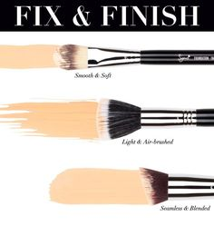 A brush for every foundation finish #makeup #tips #tricks #beauty #DIY #doityourself #tutorial #stepbystep #howto #practical #guide #brushes #index
