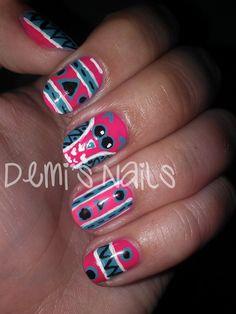 Demi's Nails: Tribal Owl Nails: http://www.demisnails.com/2013/01/tribal-owl-nails.html