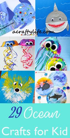 Explore the ocean with this fun list of ocean kid crafts. There are sharks, jellyfish, whales, fish, and more. Kids will love to make ocean creations. Ocean Kids Crafts, Fish Crafts, Summer Crafts For Kids, Diy For Kids, Toddler Art, Toddler Crafts, Friend Crafts, Easy Arts And Crafts, Preschool Themes