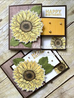Fun Fold Cards, Quick Cards, Folded Cards, Card Making Tutorials, Making Ideas, Scrapbook Cards, Scrapbooking, Sunflower Cards, Autumn Cards