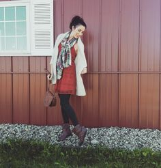 Orange lace overlay dress with plaid scarf, grey wool tights, oversize sweater .Just right for a day at the pumpkin patch. Day Date Outfits, Fall Outfits, Wool Tights, Lace Overlay Dress, White Cardigan, Plaid Scarf, Duster Coat, Autumn Fashion, Pumpkin