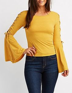 Laced-Up Bell Sleeve Top
