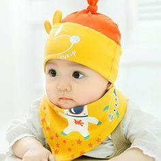 27a411deee5 Cotton Baby Hat Set Ice Cream Love Print Cotton Cap Baby Hats Newborn Hat  Children Scarf