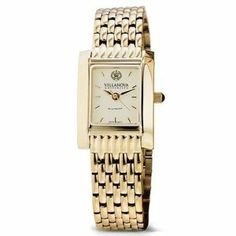 """Villanova University Women's Swiss Watch - Gold Quad Watch with Bracelet by M.LaHart & Co.. $379.00. Attractive M.LaHart & Co. gift box.. Three-year warranty.. Officially licensed by Villanova University. Swiss-made quartz movement with 7 jewels.. Classic American style by M.LaHart. Villanova University women's gold watch featuring Villanova seal at 12 o'clock and """"Villanova University"""" inscribed below on cream dial. Swiss-made quartz movement with 7 jewels. Cream dial wi..."""