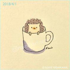 1438 お久しぶり。元気だった? Hi, how have you been? #illustration #hedgehog #イラスト #ハリネズミ #なみはりねずみ