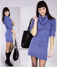 Теплое платье спицами. Описание вязания, схемы, выкройка