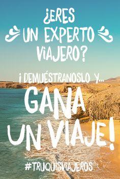 ¿Quieres viajar a este paraíso? Se trata de Lanzarote, isla a la que puedes ir acompañado de otra persona gracias a los #truquisviajeros? Sí, esas ingeniosas soluciones que nos sacan de apuros estando de viaje. Dinos cuáles son los tuyos y descubre qué tipo de experto viajero eres ¡Un viaje está en juego! ¡Visita nuestra web!