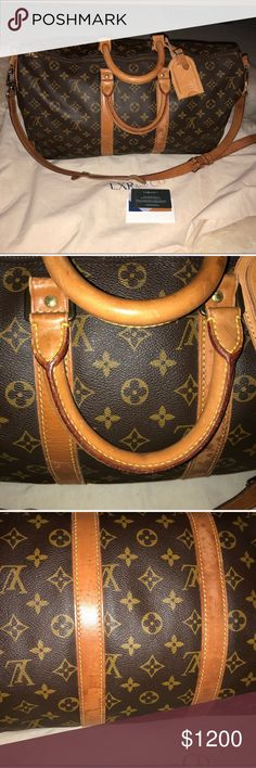 LOUIS Vuitton 45 keepall bandouliere authentic ****NO TRADES***** LOUIS Vuitton 45 keepall bandouliere authentic Preowned recently purchased at century 21 store in nj for $1000 please no low ball offers Please review pics carefully there is patina, watermarks on leather straps, handles. Inside is clean no stains No low ball offers Louis Vuitton Bags Travel Bags