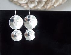 Modernist Sterling Silver 925 Long Concave Circle Round Mexico DDD Earrings #DominiqueDinouart #DropDangle