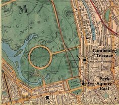 Regent's Park, showing Cambridge Terrace (Margaret's home) and Park Square East (St. Lawrence House).   Dog walking path along the Broad Walk.   Map of London ca. 1851. Walking Paths, Dog Walking, House Dog, Camden Town, St Lawrence, Cambridge, Terrace, City Photo, Vintage World Maps