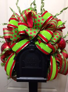 Fun pattern and color create a precious holiday mailbox Swag