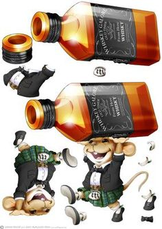 Scots Whisky Mouse Green Kilt Decoupage Sheet on Craftsuprint designed by Gordon Fraser - This naughty little mouse pinches his favourite tipple! Decoupage sheet version with loads of options to create your own designs. More versions of this little fella are available. To see more of my illustrations and designs just click on my name. Don't forget to check out his brothers, Gin Mouse, Cheese Mouse and Christmas Pud Mouse! - Now available for download!