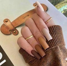 Bling Acrylic Nails, Acrylic Nails Coffin Short, Simple Acrylic Nails, Best Acrylic Nails, Acrylic Nail Designs, Acrylic Art, Brown Nail Designs, Cute Simple Nail Designs, Best Nail Designs