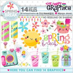 ★New listing! Spring graphics for COMMERCIAL USE - Spring Break clipart