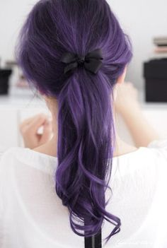 possible to do this in lighter shade (this looks like purple + black hair, what about lilac + light brown?)