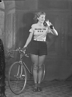 """""""Cyclist Joyce Barry, celebrated throughout the 1930s for her many record-breaking time and distances rides, advertising for Milk Board, September 1939"""""""
